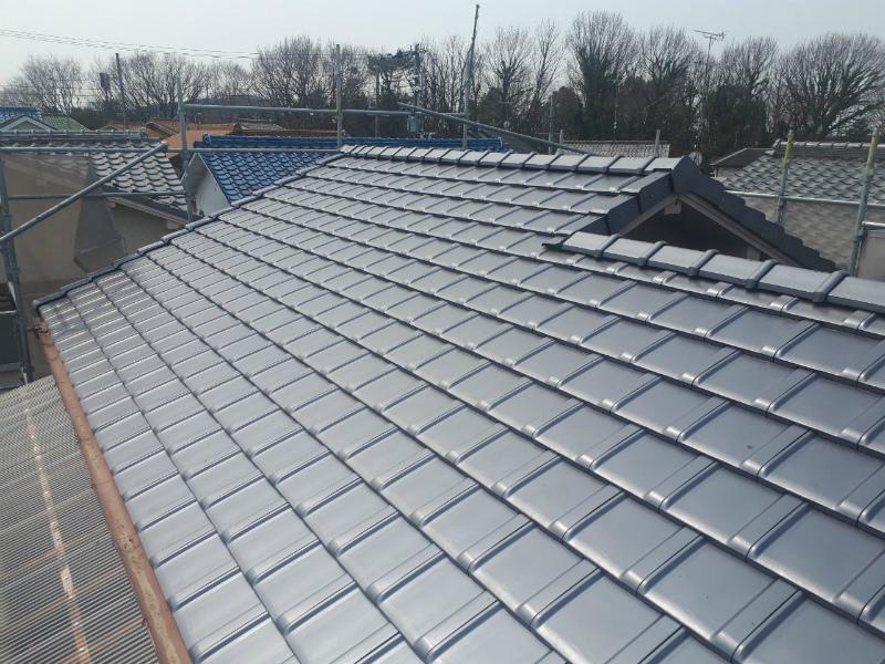 三木市緑ヶ丘 経年劣化で防災瓦で屋根の葺き替えしました。