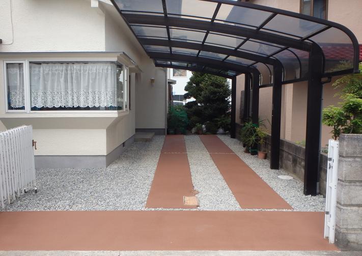 外構工事(駐車スペース舗装)<兵庫県小野市>外構リフォーム,滑り止め舗装:Kグランドコート