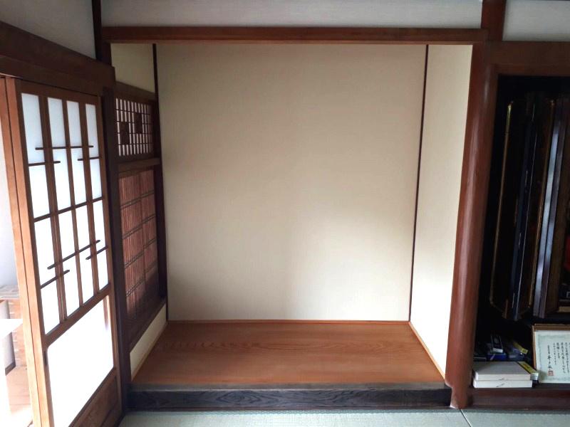 国産杉の一枚板で床の間の取替えリフォーム